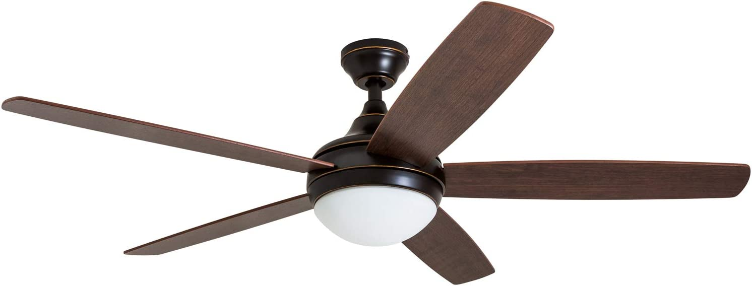 """Prominence Home 80093-01 Ashby Ceiling Fan with Remote Control and Dimmable Integrated LED Light Frosted Fixture, 52"""" Contemporary Indoor, 5 Blades Light Oak/Newport Brown, Oil-Rubbed Bronze"""