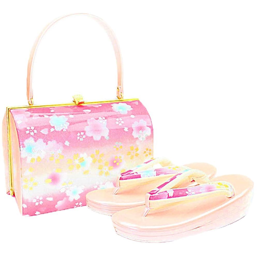 まだ金銭的偽物[ノーブランド品] 草履バッグセット レディース 2Lサイズ ピンク 金色 N0880
