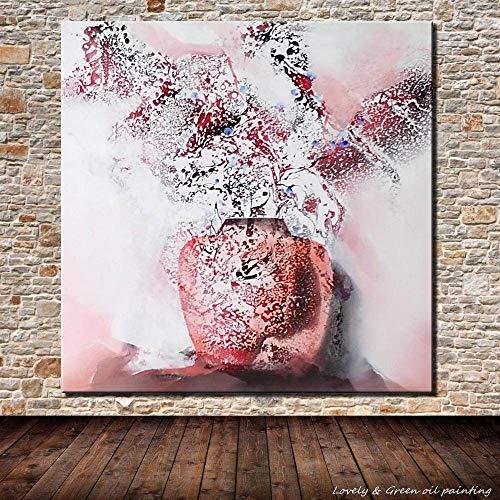 Olieverfschilderij handgeschilderd op doek, modern olieverfschilderij, handgeschilderd olieverfschilderij, aquarelkop, canvas, creatief canvas, roze vaas frameless woonkamer 100x100 cm