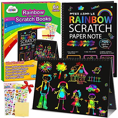 ZMLM Scratch Paper Art Notebooks - Rainbow Scratch Off Art Set for...