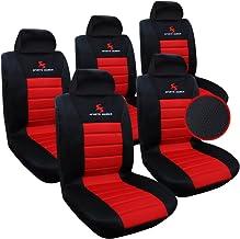 WOLTU 5X Fundas de Asiento para Coche Universal Delantero y Traseros Cubierta para Asiento Automóvil sin Bolsa de Aire 100% Poliéster Negro/Rojo AS7557-5