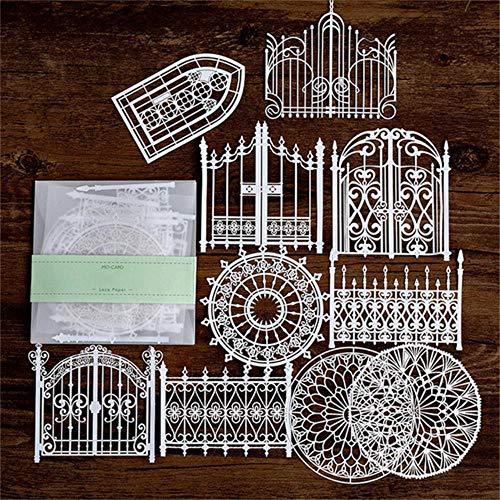 10st uitgehold kant papier vlinder bloem- venster kant retro decoratieve sticker diy scrapbooking label dagboek album, 5, Verenigde Staten