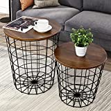 Nesting End Tables with Storage - Set of 2 Convertible Round Metal Basket Living Room Storage with Wood Tabletop, Accent Side Table with Storage (Walnut)
