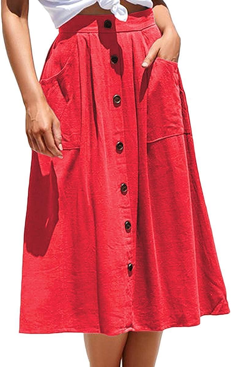 Women's Casual Front Button A line Skirt Midi High Waist Skirt Dress with Pocket