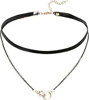 Aooaz Womens Collar Choker Necklace Stainless Steel Velvet Multilayer Long Bar Round Tag Silver Black
