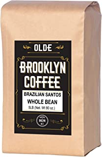 BRAZILIAN SANTOS Whole Bean Coffee - American Light Roast 5LB Bag - For A Classic Coffee, Breakfast, House Gourmet- Roasted in New York