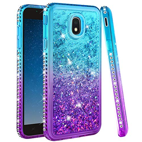 Ruky Christmas Case for Galaxy J7 2018, Galaxy J7 Refine/Galaxy J7 Star/J7 Crown/Galaxy J7V 2nd Gen/J7 Aura Glitter Flowing Liquid Merry Christmas Phone Case for Samsung Galaxy J7 2018, Christmas Tree