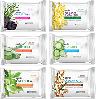 Epielle New Makeup Remover Cleansing Wipes Tissue | Gentle for all Skin Types | Daily Facial Cleansing Towelettes | Removes Dirt, Oil, Makeup | Nicely Scented - Charcoal, Collagen, Aloe, Cucumber, Green Tea, Argan Oil | 30 Count | Assorted 6 Pack