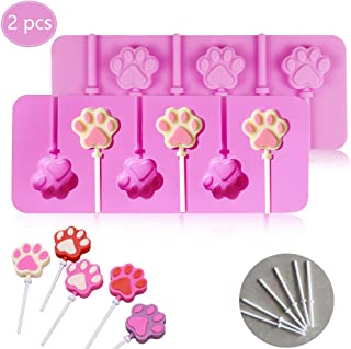 (2 Pack)6-Capacity Paw Silicone Lollipops Mold with Sticks/Cat Dog Pet Paw Hard Candy Chocolate Jelly Molds for Mini Ice Cream Making Fondant Cupcake Topper Decoration