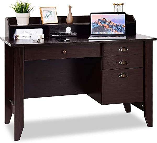Tangkula Computer Desk Home Office Desk Wood Frame Vintage Style Student Table With 4 Drawers Bookshelf PC Laptop Notebook Desk Spacious Workstation Writing Study Table Coffee