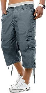 iLXHD Mens Cargo Shorts Elasticated Waist Cotton Cargo Combat 3/4 Long Knee Length Shorts Pants