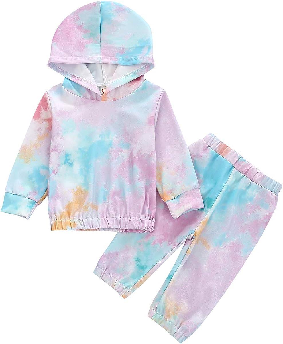 Baby Girls Boys Tie Dye Clothes Set Fall Sweatshirt Long Sleeve Hoodie T-Shirt Tops Tie-Dye Pants 2Pcs Outfits