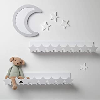 Decorative Floating Shelves for Baby Nursery  Kids Bedroom  Home Decor Mounted Wall Shelf  Set Cute Star Design White Wooden Toy Rack and Organizer Easy Installation  22 5 quot