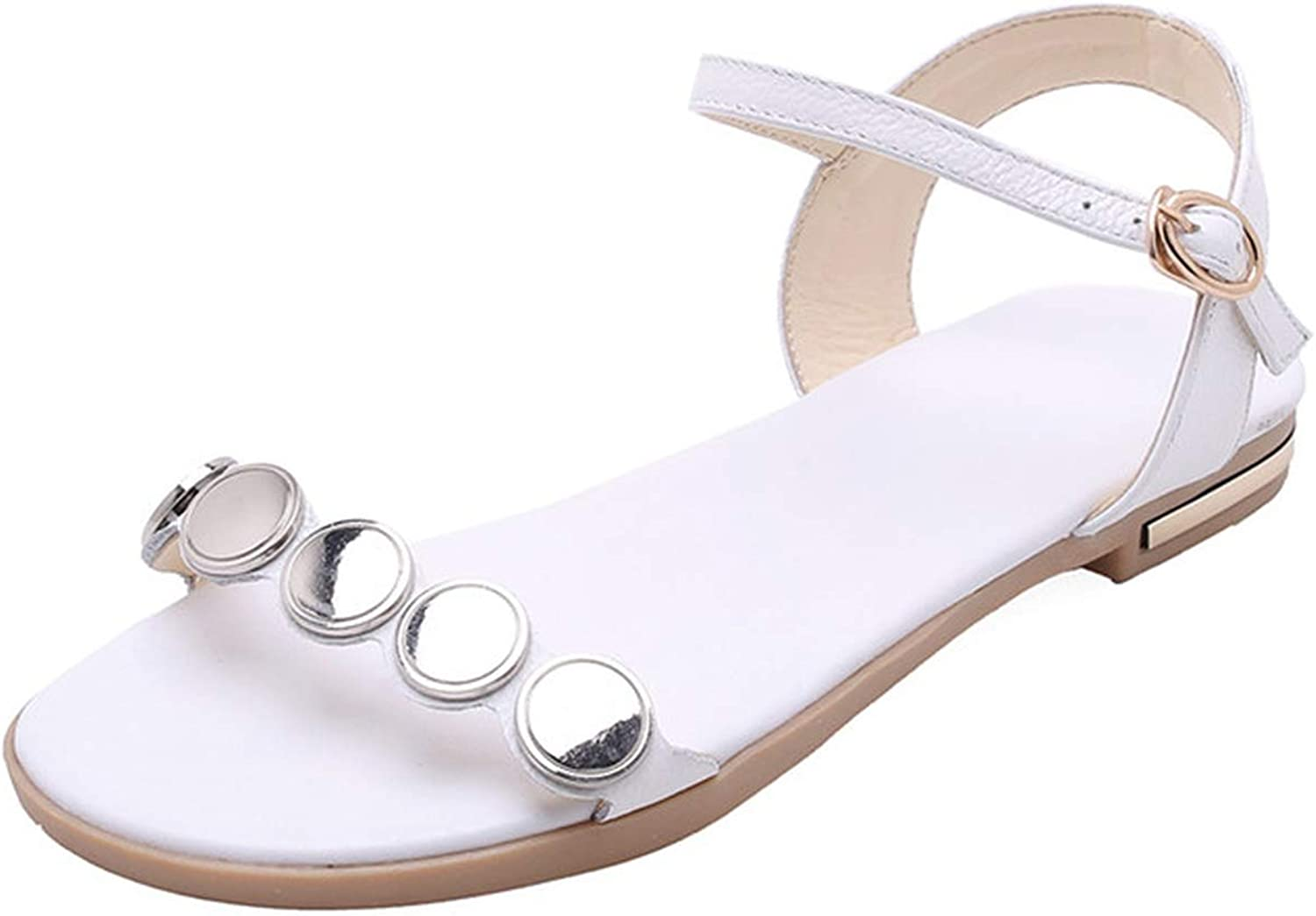 Fairy music Large Size 34-46 Summer New shoes Woman Buckle Genuine Leather shoes Women Flat with Sandals
