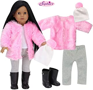 Sophia's Doll Clothes 18 Inch Doll 5 Piece Winter Set | Pink Shaggy Doll Coat, White Pom-pom Doll Hat, Silver Leggings, White Tank & Black Boots Perfect for American Dolls & More!