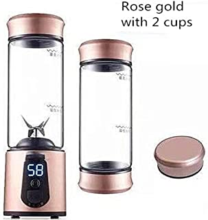Portable Electric Juicer Blender Automatic USB Mini Fruit Mixers Juicers Fruit Extractor Food Milkshake Multi Juice Maker,rose gold 2 cups
