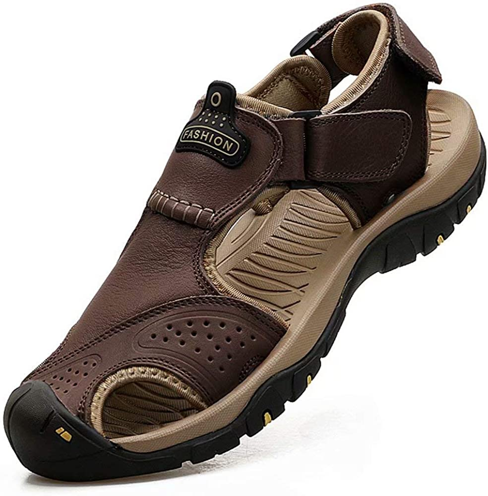   VISIONREAST Mens Leather Sandals Outdoor Hiking Sandals Waterproof Athletic Sports Sandals Fisherman Beach Shoes Closed Toe Water Sandals   Sport Sandals & Slides