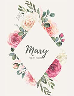 Mary: Personalized Name Floral Design Journal For Women and Girls, Personalized Gift, Composition Notebook, 8,5x11 in, Sof...