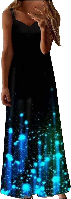aihihe Womens Plus Size Loose Dresses Summer Casual Tie Dye Print Sleeveless Bohemian Long Maxi Dress
