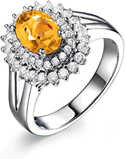 ANAZOZ Oval Cut 9X7MM Yellow Citrine Ring Band S925 Sterling Silver Women Wedding Bridal Ring Jewelry