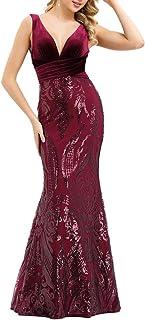 Ever-Pretty Vestito da Festa Donna Sirena Paillettes Velluto Scollo V Lungo 00969