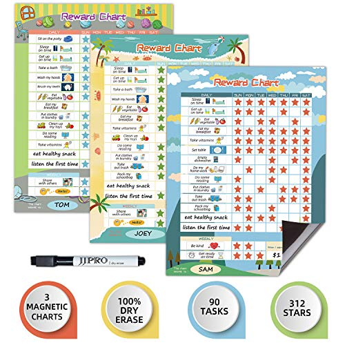"""Magnetic Bahavior Chart for Kid at Home, Reusable Chore Chart for Kid, Reward Chart for Kids Behavior. 3 Pack Blue/Yellow/Green, Each Set includs 30 Tasks,104 Stars,11""""x14.5"""" Magnetic Chart"""