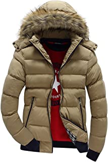 Men's Winter Snow Puffer Coats Fur Hooded Thick Cotton-Padded Quilted Warm Down Jacket