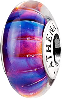 Murano Glass 925 Sterling Silver Core Faceted Purple Dreamland Charms Bead for Bracelet