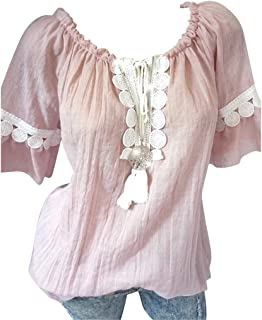 FRPE Women's Lace Stitching Fashion Casual Summer Short Sleeve T-Shirt Blouse Top