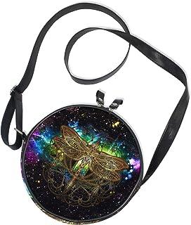 Ahomy Runde Tasche Klein für Frauen - Galaxy Retro Libelle Boho Stil Damen Mode Crossbody Tasche Umhängetasche