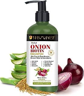 Soulflower Onion Biotin Shampoo For Hair Growth, Control Hair Fall & Dandruff with Aloevera, Plant Keratin, Reetha, Shikak...