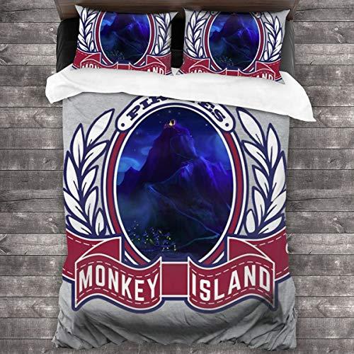 KUKHKU Pirates of Monkey Island 3-teiliges Bettwäsche-Set Bettbezug 218 cm x 70 cm, Queen dekoratives 3-teiliges Bettwäsche-Set mit 2 Kissenbezügen