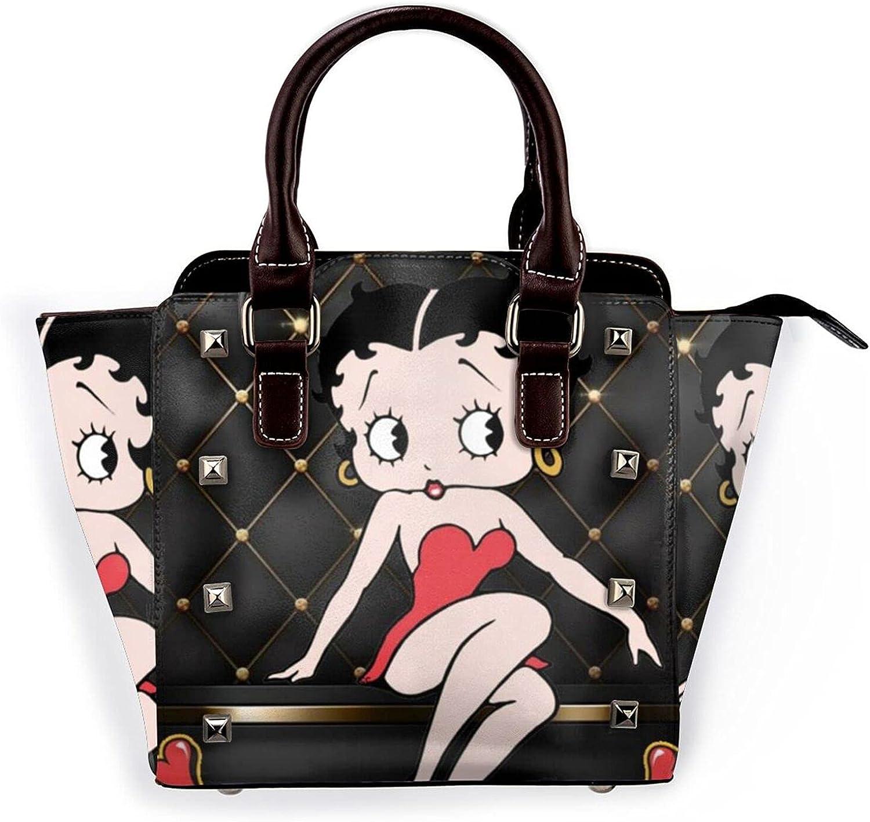 Betty Boop Womens Leather Rivet Shoulder Bag Handbags Tote Satchel Crossbody Hobo Purse With Adjustable Shoulder Strap