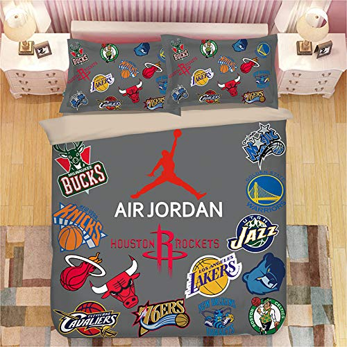 HEC 3D NBA Duvet Cover Printed Basketball Team Bedding Sets Soft Microfiber Kids Teenagers Adult Boys Bed Set,2pcs 1 Duvet Cover 2 Pillowcas(No Comforter), Twin