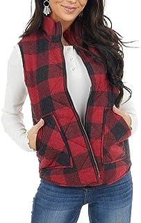Womens Buffalo Plaid Zip Up Vest Sleeveless Jacket Coat...