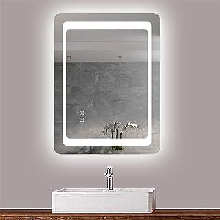 AICA Miroir de Salle de Bain éclairage LED intégré Miroir Cosmétique Mural 90x70cm réversible avec Double Interrupteur/Ant...