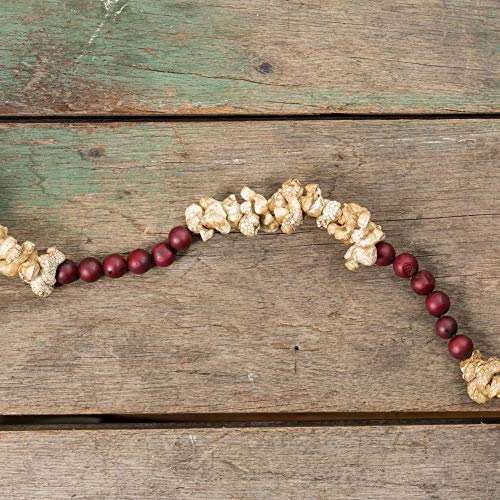 Ragon House 9 FT. Faux Popcorn and Cranberry String Bead Garland Christmas Tree
