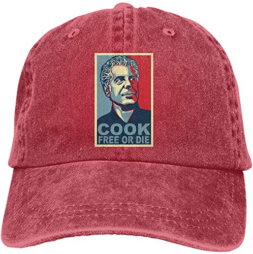 Asidwu Anthony Bourdain Adjustable Cross-Country Cotton Washed Denim Cap Hat Black,Red,One Size