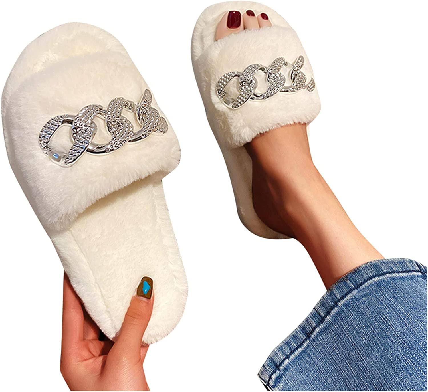 40% Max 49% OFF OFF Cheap Sale Hunauoo Slippers for Women Thick Furry Outdoor Col Pure