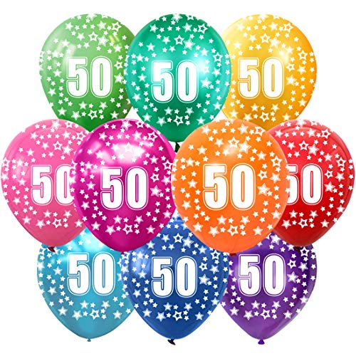 30 x Multi Coloured 12 Inch 50th Birthday Party Balloons