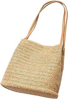 TENDYCOCO Bolsa feminina de verão para praia, bolsa de palha, bolsa de ombro, bolsa de mão - bege claro, Dark Brown, Large