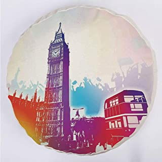 YOUWENll Round Decorative Throw Pillow Floor Meditation Cushion Seating/Historical Big Ben and Bus Great Bell Clock Tower UK Europe Street Landmark/for Home Decoration 17