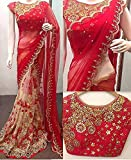 Redolent Women's Embroidered Work Saree With Blouse Piece (Red Color Stone Work)