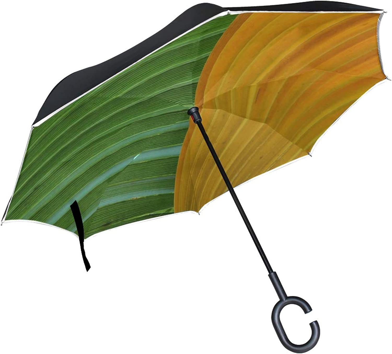 Double Layer Ingreened Abstract Close Up color Detail Flora Umbrellas Reverse Folding Umbrella Windproof Uv Predection Big Straight Umbrella for Car Rain Outdoor with CShaped Handle