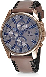 Vetor Watch for Men, Analog, Chronograph, Leather Band, Brown, VT027M131313