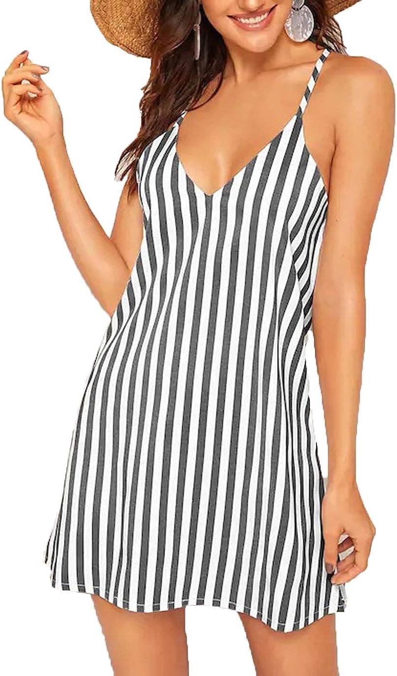 OEUVRE Womens Summer Spaghetti Strap Race Back V Neck Sleeveless Casual Mini Dress