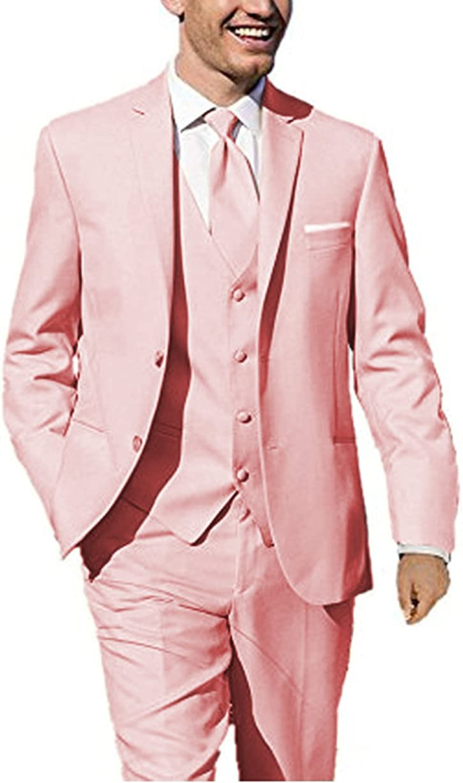Men's 3-Pieces Men Wedding Groom Tuxedos Formal Blazer Groomsmen Suit Two Buttons(Pink,48US/UK & 58EU)