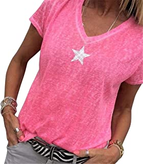 FRPE Women Short-Sleeve V-Neck Loose Solid Color Plus Size Casual T-Shirt Blouse Top