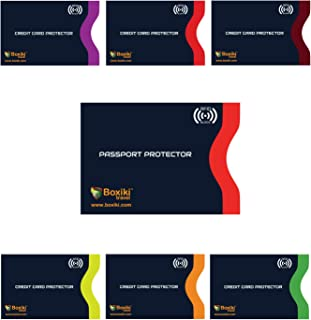 RFID Blocking Sleeves, Set With Color Coding | Identity Theft Prevention RFID Blocking Envelopes by Boxiki Travel (Set of 6 Credit Card Sleeves + 1 Passport Sleeve) (Navy Blue)