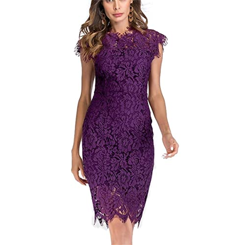 541552d2ea Women's Sleeveless Floral Lace Slim Evening Cocktail Mini Dress for Party  DM261